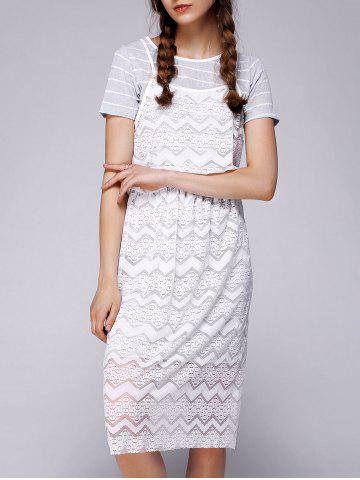 Discount Brief Women's Striped Faux Twinset Lace Dress