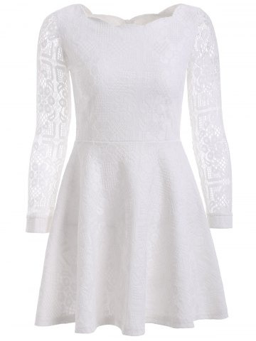 Affordable Floral Embroidered Lace Casual Wedding Dress WHITE 3XL