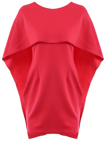 Shop Sexy Round Neck Half Sleeve Pure Color Women's Dress