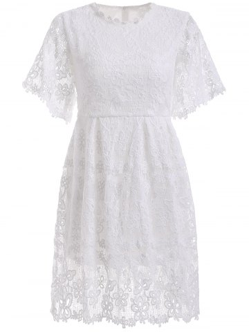 Outfit Elegant Women's Crochet-Trim Lace A-Line Dress