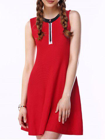 Outfits Brief Women's Red Front Zipper Fly A-Line Dress