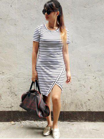 Affordable Chic Striped Asymmetrical Slit Dress - S WHITE Mobile