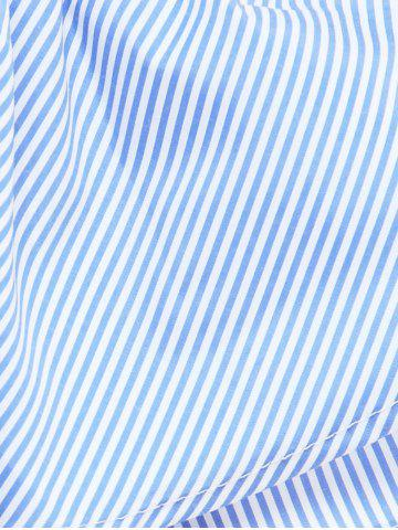 Chic Overlay Striped Flouncing Backless Dress - L BLUE Mobile