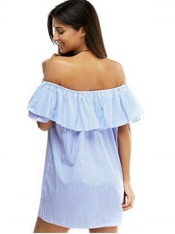 Chic Overlay Striped Flouncing Backless Dress - M BLUE Mobile