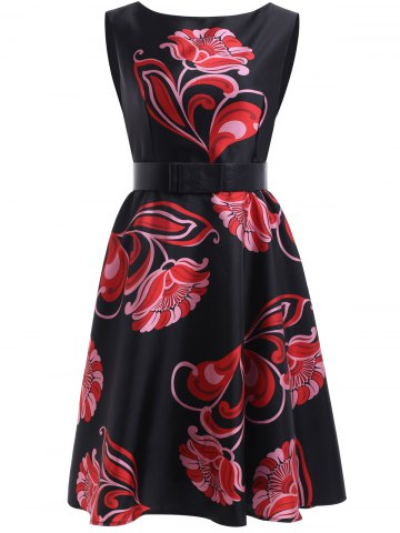New Sweet Women's Floral Print Sleeveless Flare Dress