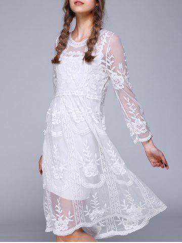 Discount 3/4 Sleeve Lace Splicing Embroidery Dress