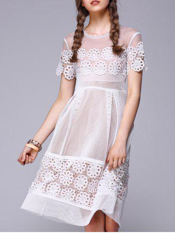 Shops See-Through Lace Splicing Embroidery Dress