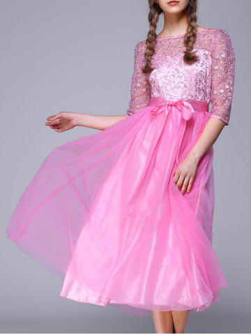 Cheap See Through Lace Insert Embroidery Bridesmaid Dress