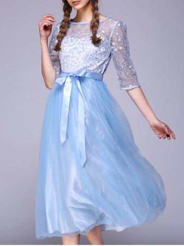Hot See Through Lace Insert Embroidery Bridesmaid Dress LIGHT BLUE 2XL