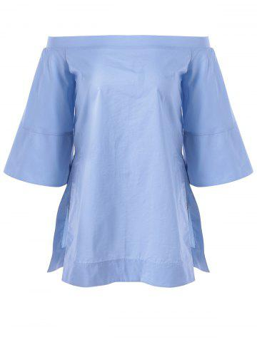 New Off The Shoulder Solid Color Furcal Tunic Blouse LIGHT BLUE XL