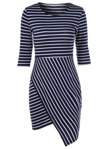 Stylish Striped Color Block Irregular Bodycon Dress - White And Black - L