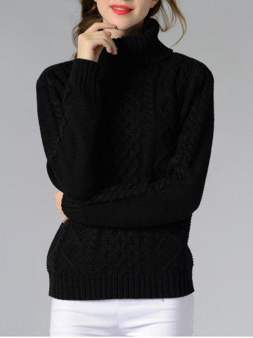 Trendy Long Sleeve Turtle Neck Solid Color Sweater BLACK M