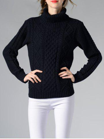 Long Sleeve Turtle Neck Solid Color Sweater - Deep Blue - S