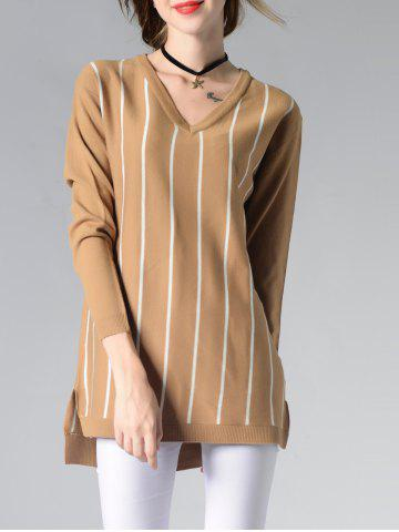 Shops Long Sleeve V-Neck Striped High Low Sweater