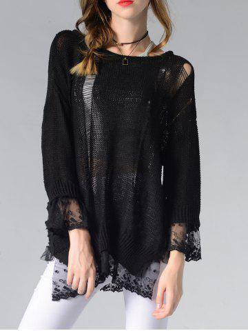Outfit Scoop Neck Hollow Out Spliced Women's Sweater