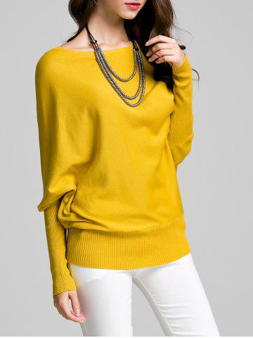 Discount Round Neck Bat Sleeve Solid Color Sweater YELLOW M