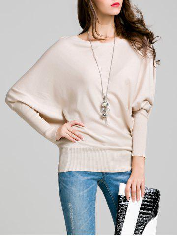 Round Neck Bat Sleeve Solid Color Sweater - Off-white - S
