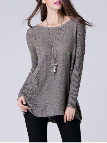 Buy Scoop Neck Long Sleeve Women's Thin Sweater GRAY ONE SIZE