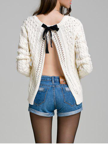 Long Sleeve Hollow Out Solid Color Sweater - White - M