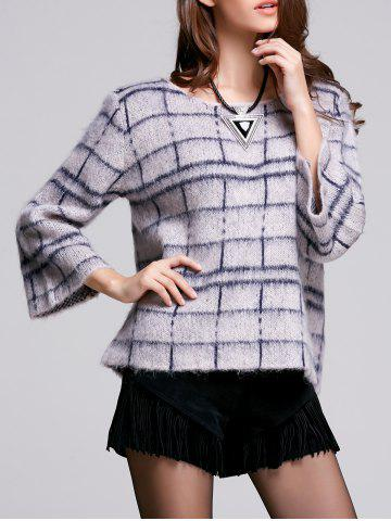 Hot 3/4 Sleeve Round Neck Women's Plaid Sweater