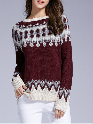 Long Sleeve Round Neck Patterned Sweater - Wine Red - S
