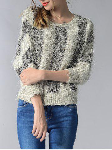 New Trendy 3/4 Sleeve Hit Color Fluff Women's Sweater