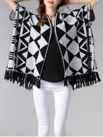 Discount Chic Batwing Sleeve Geometric Pattern Fringed Women's Cardigan