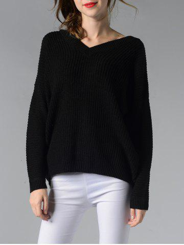 Latest Trendy V-Neck Ribbed Solid Color Women's Sweater