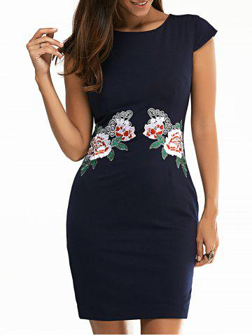 Jewel Neck Floral Embroidered Bodycon Dress