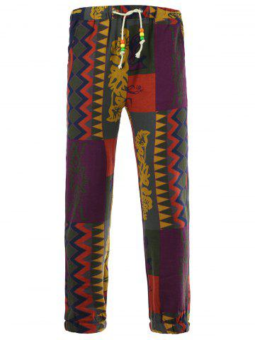 Latest Drawstring Color Block Spliced Totem Print Cotton Linen Pants COLORMIX 3XL