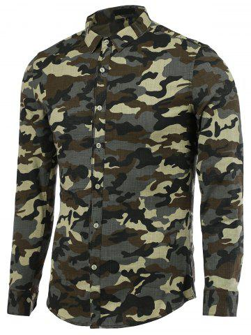 Sale Turn-Down Collar Camouflage Long Sleeve Shirt For Men ARMY GREEN 2XL