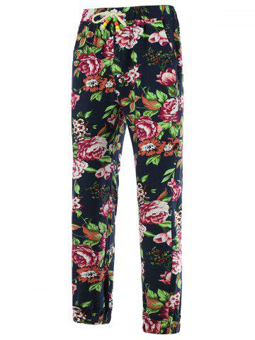 Fashion Drawstring 3D Flower Print Linen Pants COLORMIX 2XL