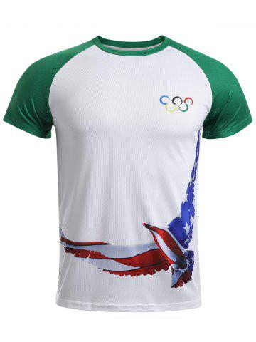 Sale Olympic Peace Dove Print Round Neck Short Sleeve T-Shirt