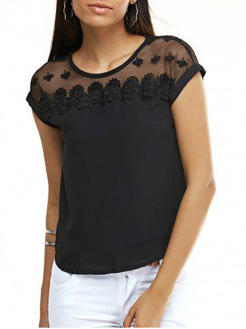 Fancy Sweet Floral See-Through Chiffon T-Shirt For Women