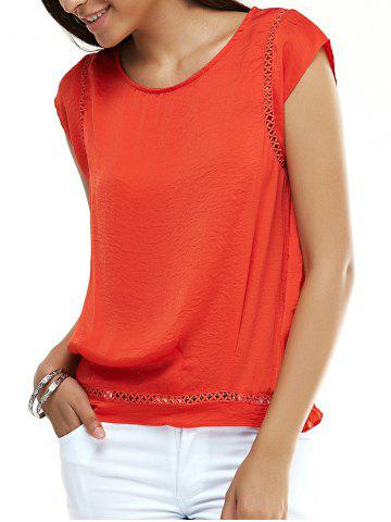 Affordable Stylish Cap Sleeve Hollow Out Blouse For Women