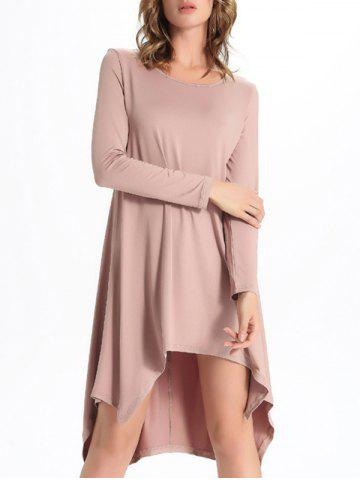 Outfits Chic Scoop Neck Asymmetrical Solid Color Women's Dress