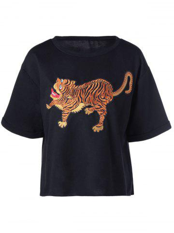 Outfits Tiger Printed Short Sleeve T-Shirt BLACK XL