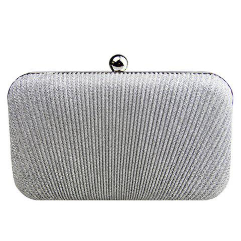 Discount Stylish Solid Color and Metallic Ball Design Evening Bag For Women - SILVER  Mobile