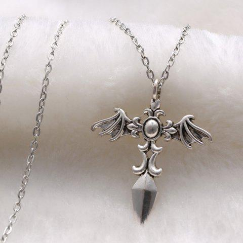 Online Vintage Cross Wings Sweater Chain For Men - SILVER  Mobile