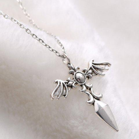 New Vintage Cross Wings Sweater Chain For Men - SILVER  Mobile