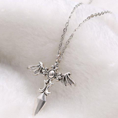 Trendy Vintage Cross Wings Sweater Chain For Men - SILVER  Mobile