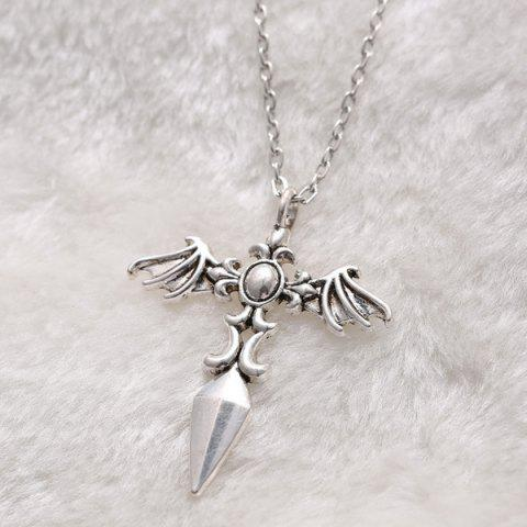 Discount Vintage Cross Wings Sweater Chain For Men - SILVER  Mobile