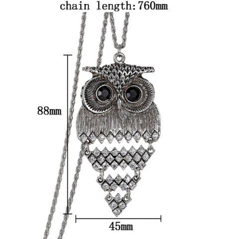 Sale Vintage Alloy Owl Sweater Chain For Women - SILVER  Mobile