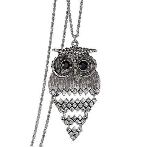 Discount Vintage Alloy Owl Sweater Chain For Women SILVER