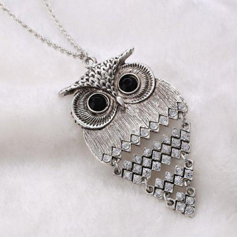 New Vintage Alloy Owl Sweater Chain For Women - SILVER  Mobile