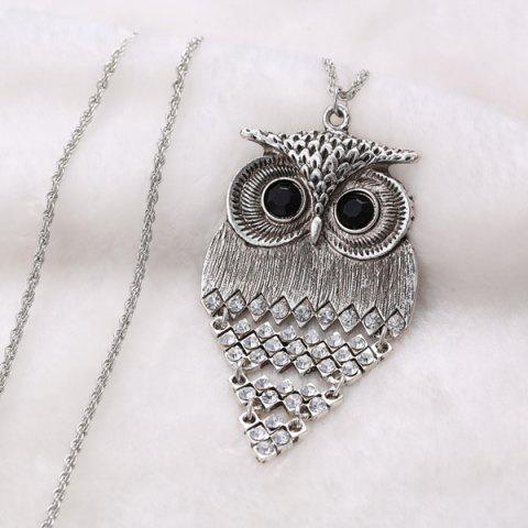 Cheap Vintage Alloy Owl Sweater Chain For Women - SILVER  Mobile