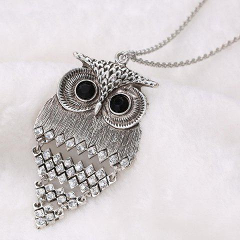 Trendy Vintage Alloy Owl Sweater Chain For Women - SILVER  Mobile
