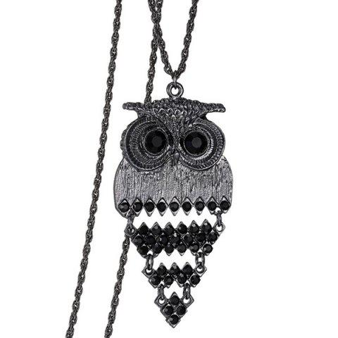 Affordable Vintage Alloy Owl Sweater Chain For Women BLACK
