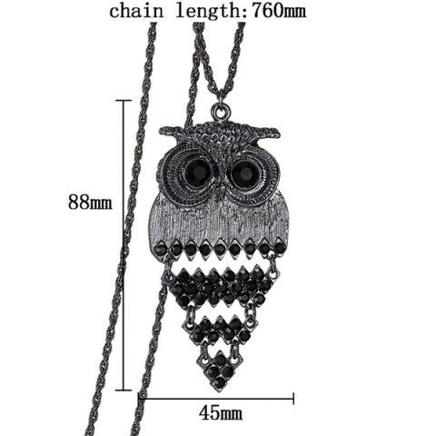 Chic Vintage Alloy Owl Sweater Chain For Women - BLACK  Mobile
