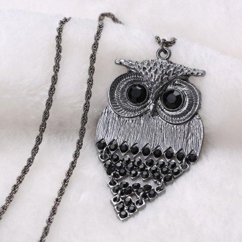 Sale Vintage Alloy Owl Sweater Chain For Women - BLACK  Mobile
